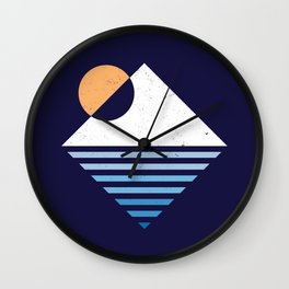 Snow Mountain sunset Wall Clock