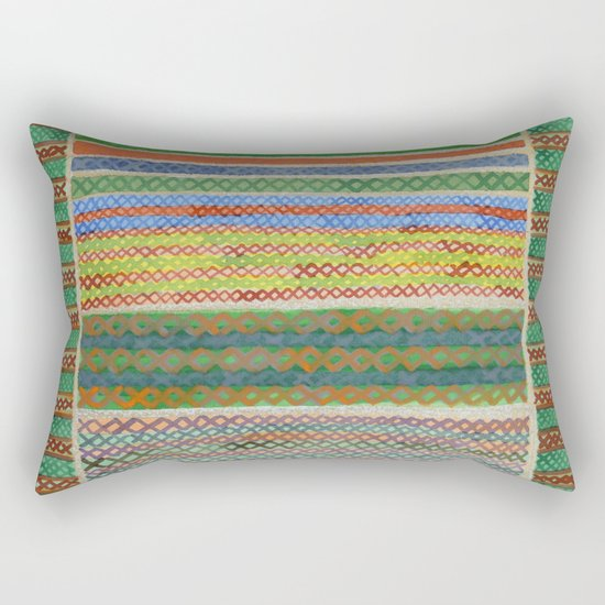 Colorful Stiches on Horizontal Colorful Stripes  Rectangular Pillow