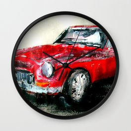 MG 1969 Classic Car Acrylics On Paper Wall Clock