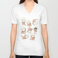 book V-neck T-shirts featuring Cat-Stronauts by Drew Brockington