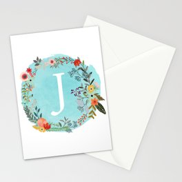 Personalized Monogram Initial Letter J Blue Watercolor Flower Wreath Artwork Stationery Cards
