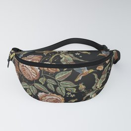 Vintage embroidery roses seamless pattern Fanny Pack
