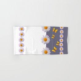 WHITE DAISIES & SPRING BUTTERFLIES & WHITE-GREY ART Hand & Bath Towel