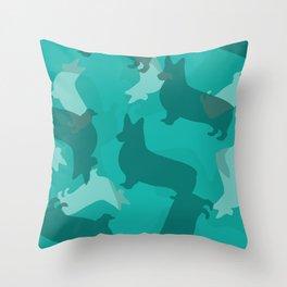 Blue Corgi Pattern Throw Pillow