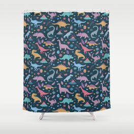Dinosaur + Flowers Pattern Shower Curtain