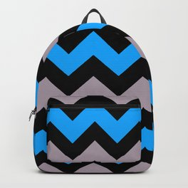 Chevron Pattern In Black, Aqua Blue and Dusky Pink Backpack
