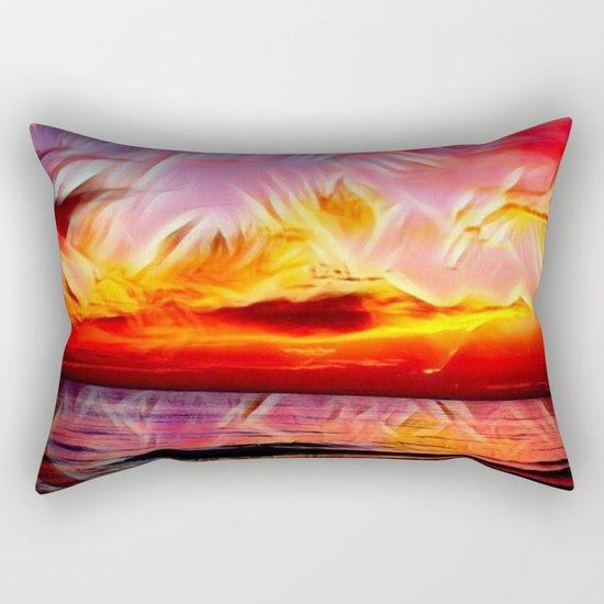 Sky on Fire (Sunset over Great Lake Michigan Beach) Rectangular Pillow