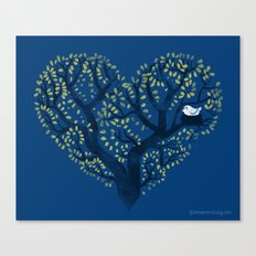 Home is where the nest is - on blue Canvas Print