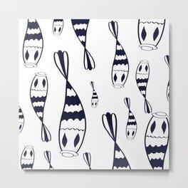 Mystical black and white fish pattern // Art Deco style pattern Metal Print
