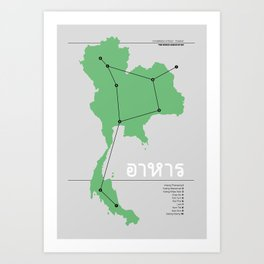 Constellation of Food - Thailand - Green Art Print