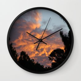 There is fire in the Sky. Sunset series Wall Clock