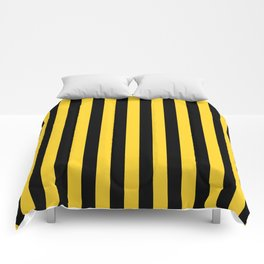 Yellow and Black Honey Bee Vertical Beach Hut Stripes Comforters