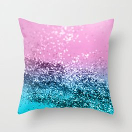 Tropical Beach Lady Glitter #1 #shiny #decor #art #society6 Throw Pillow