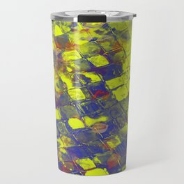 Take The First Step - Abstract, blue and yellow pattern Travel Mug
