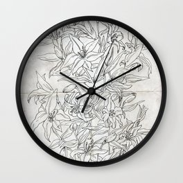 Lillies ink drawing Wall Clock