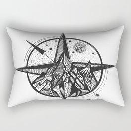 """Ascend"" Mountain Nature Artwork,  Compass Art Rectangular Pillow"