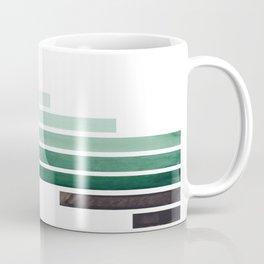 Deep Aqua Green Midcentury Modern Minimalist Staggered Stripes Rectangle Geometric Aztec Pattern Wat Coffee Mug