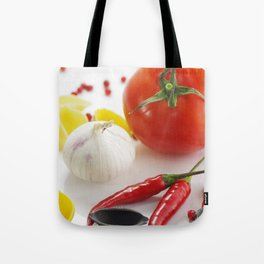 Pasta and their ingredients Tote Bag