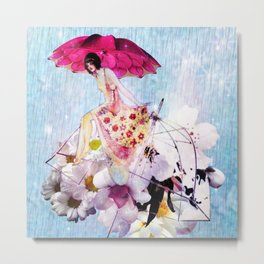 Rainy Bouquet Girl Metal Print