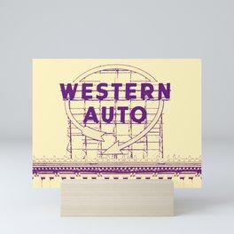Western Auto Neon Sign In Downtown Kansas City Mini Art Print