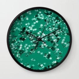 Emerald Glitter Stars #1 #shiny #decor #art #society6 Wall Clock