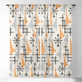 Mid Century Modern Atomic Wing Composition Orange & Gray Sheer Curtain