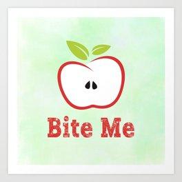 Red Apple Illustration - Bite Me Typography Art Print