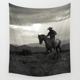 Santa Fe Cowboy on Horse Wall Tapestry