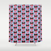 mouth Shower Curtains featuring MOUTH BREATHER by Matthew Taylor Wilson
