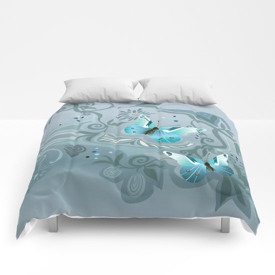 Butterfly tangle, colony blue Comforters