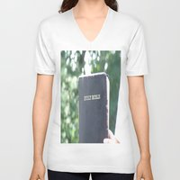 bible verses V-neck T-shirts featuring Holy Bible w/ bokeh by Hannah Chapman