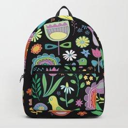 Birds & Blooms - Pastels on Black Backpack