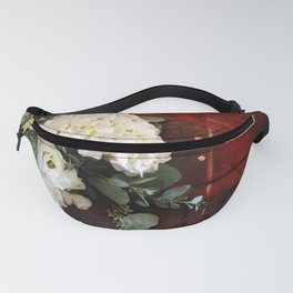 Rose and Hydrangea Bouquet on old Table Fanny Pack
