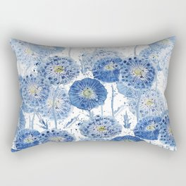 blue indigo dandelion pattern watercolor Rectangular Pillow