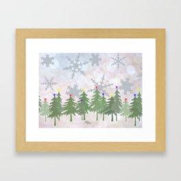 Brrrrrr Glittery Snowflake Snowy Forest Framed Art Print