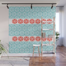 Flor turquoise Flor XL Coral Red another version Wall Mural