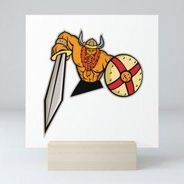 Viking Warrior Sword and Shield Mascot Mini Art Print