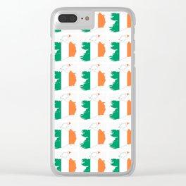 flag of ireland 3-ireland,eire,airlann,irish,gaelic,eriu,celtic,dublin,belfast,joyce,beckett Clear iPhone Case