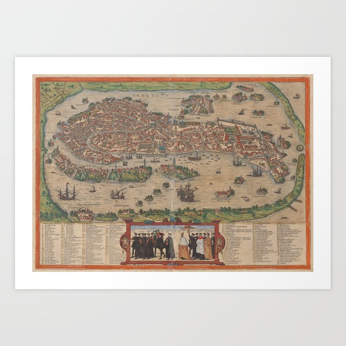 image about Printable Map of Venice named Basic Map of Venice Italy (1572) Artwork Print as a result of bravuramedia