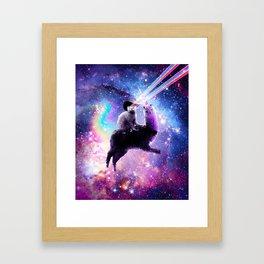 Laser Eyes Outer Space Cat Riding On Llama Unicorn Framed Art Print