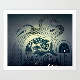 Midnight swirls Art Print