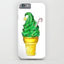 Christmas tree ice cream cone with candy cane and lights iPhone Case