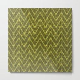 Pale Moss Green Faux Suede Chevron Pattern Metal Print
