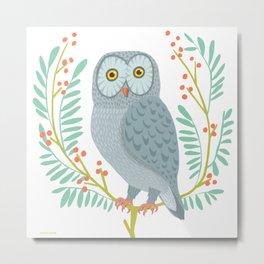 OWL WITH BERRIES Metal Print
