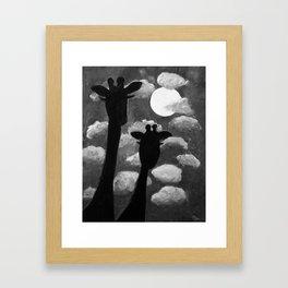 Giraffes at Nightfall - Black & White Version Framed Art Print