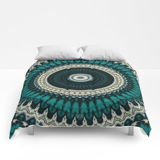 Mandala Fractal in Teal Study 01 Comforters