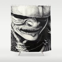 samurai Shower Curtains featuring Samurai  by Mjenai