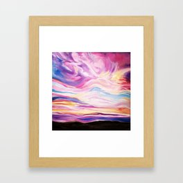 Colourful, Vibrant Abstract Sunset Oil Painting Framed Art Print