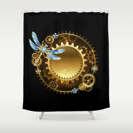 Steampunk banner with a dragonfly Shower Curtain