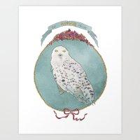 hedwig Art Prints featuring RIP Hedwig by 366Sketchbook